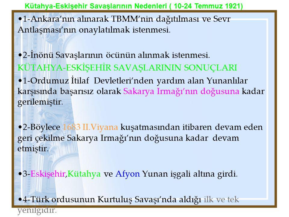 1-Ankara'nın alınarak TBMM'nin dağıtılması ve Sevr Antlaşması'nın onaylatılmak istenmesi. 2-İnönü Savaşlarının öcünün alınmak istenmesi. KÜTAHYA-ESKİŞ