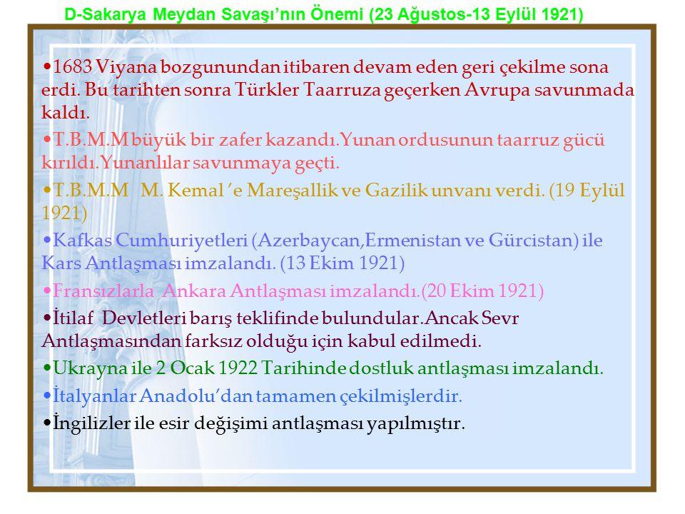 1683 Viyana bozgunundan itibaren devam eden geri çekilme sona erdi. Bu tarihten sonra Türkler Taarruza geçerken Avrupa savunmada kaldı. T.B.M.M büyük