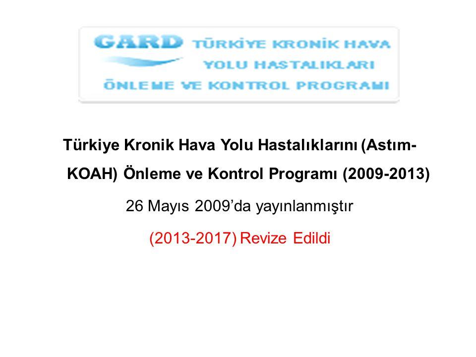 Türkiye Kronik Hava Yolu Hastalıklarını (Astım- KOAH) Önleme ve Kontrol Programı (2009-2013) 26 Mayıs 2009'da yayınlanmıştır (2013-2017) Revize Edildi