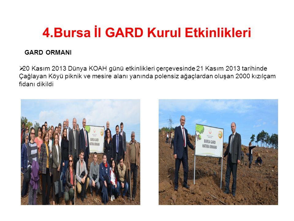 GARD ORMANI  20 Kasım 2013 Dünya KOAH günü etkinlikleri çerçevesinde 21 Kasım 2013 tarihinde Çağlayan Köyü piknik ve mesire alanı yanında polensiz ağ