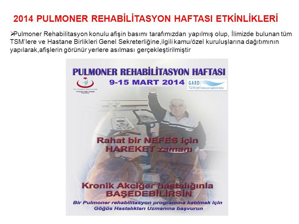 2014 PULMONER REHABİLİTASYON HAFTASI ETKİNLİKLERİ  Pulmoner Rehabilitasyon konulu afişin basımı tarafımızdan yapılmış olup, İlimizde bulunan tüm TSM'