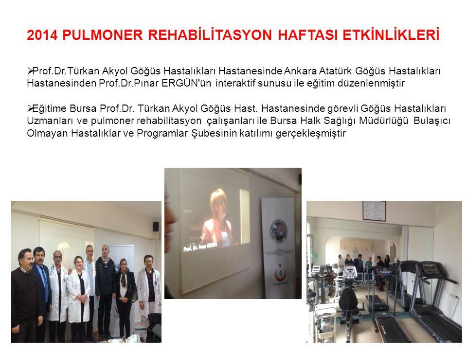 2014 PULMONER REHABİLİTASYON HAFTASI ETKİNLİKLERİ  Prof.Dr.Türkan Akyol Göğüs Hastalıkları Hastanesinde Ankara Atatürk Göğüs Hastalıkları Hastanesind