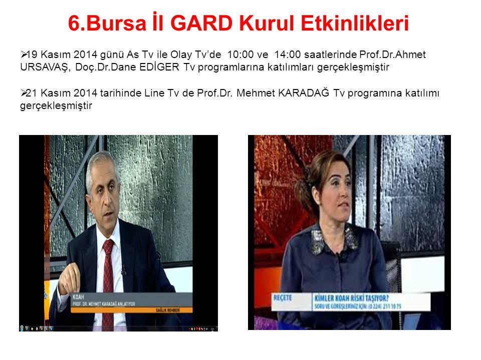  19 Kasım 2014 günü As Tv ile Olay Tv'de 10:00 ve 14:00 saatlerinde Prof.Dr.Ahmet URSAVAŞ, Doç.Dr.Dane EDİGER Tv programlarına katılımları gerçekleşm