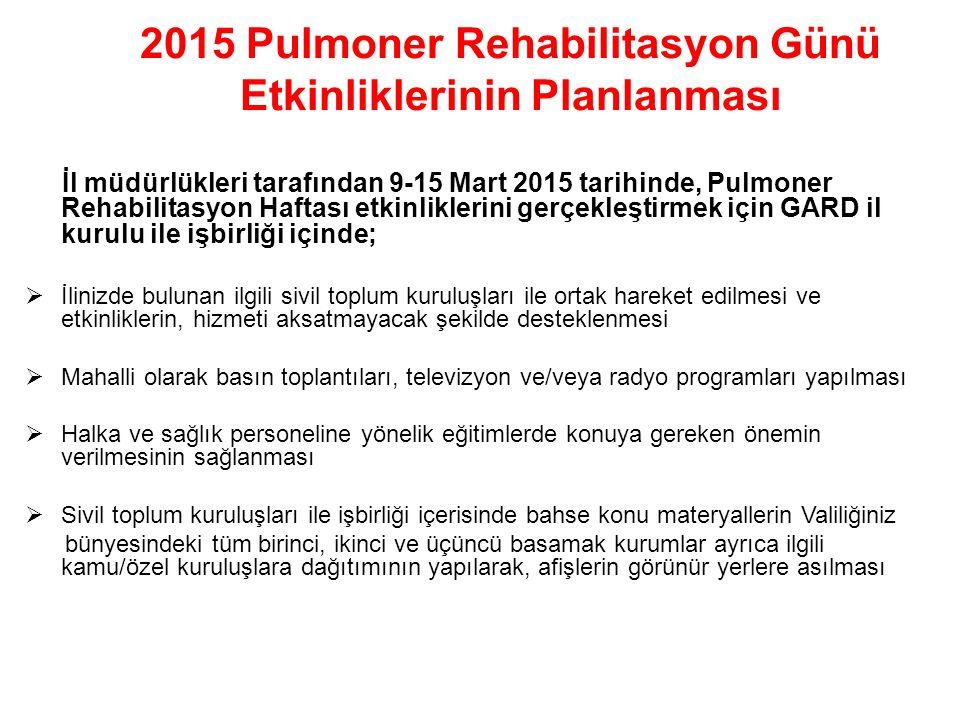 2015 Pulmoner Rehabilitasyon Günü Etkinliklerinin Planlanması İl müdürlükleri tarafından 9-15 Mart 2015 tarihinde, Pulmoner Rehabilitasyon Haftası etk
