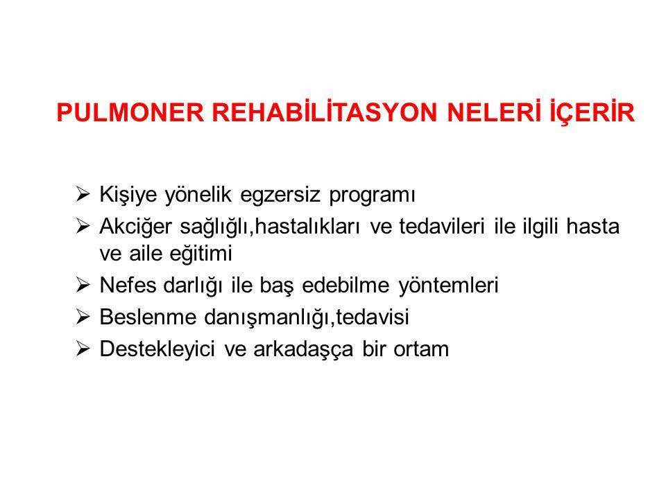 PULMONER REHABİLİTASYON NELERİ İÇERİR  Kişiye yönelik egzersiz programı  Akciğer sağlığlı,hastalıkları ve tedavileri ile ilgili hasta ve aile eğitim