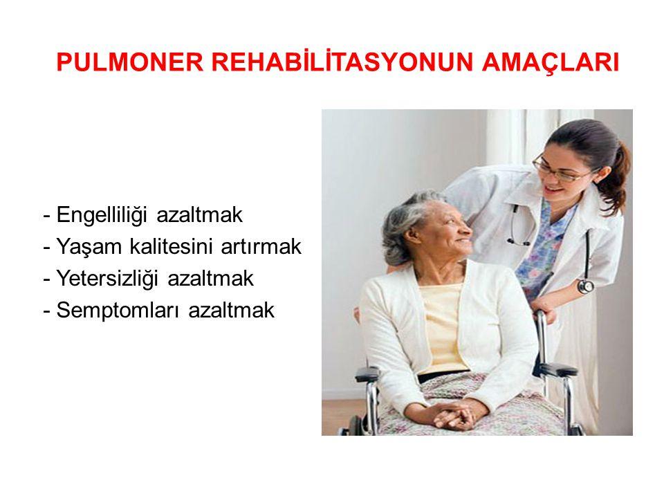 PULMONER REHABİLİTASYONUN AMAÇLARI - Engelliliği azaltmak - Yaşam kalitesini artırmak - Yetersizliği azaltmak - Semptomları azaltmak