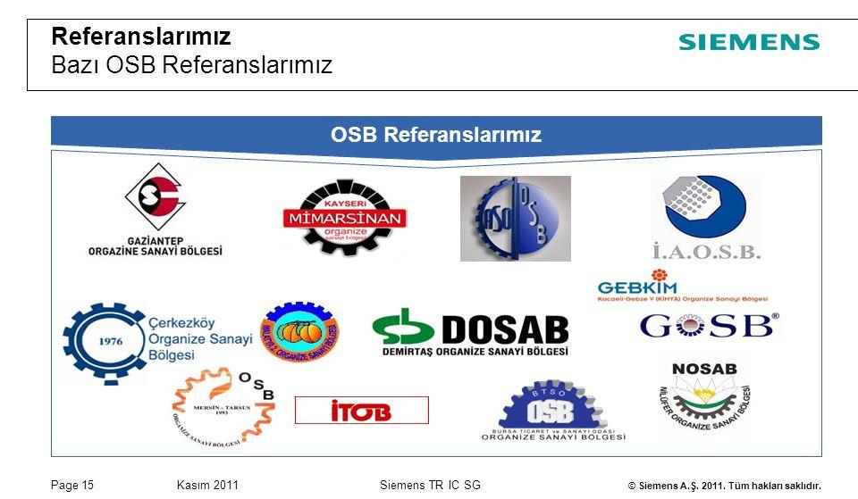 Page 15Kasım 2011 © Siemens A.Ş. 2011. Tüm hakları saklıdır. Siemens TR IC SG OSB Referanslarımız Referanslarımız Bazı OSB Referanslarımız