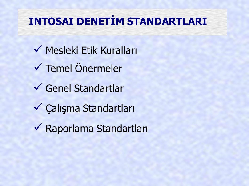 INTOSAI DENETİM STANDARTLARI Mesleki Etik Kuralları Temel Önermeler Genel Standartlar Çalışma Standartları Raporlama Standartları