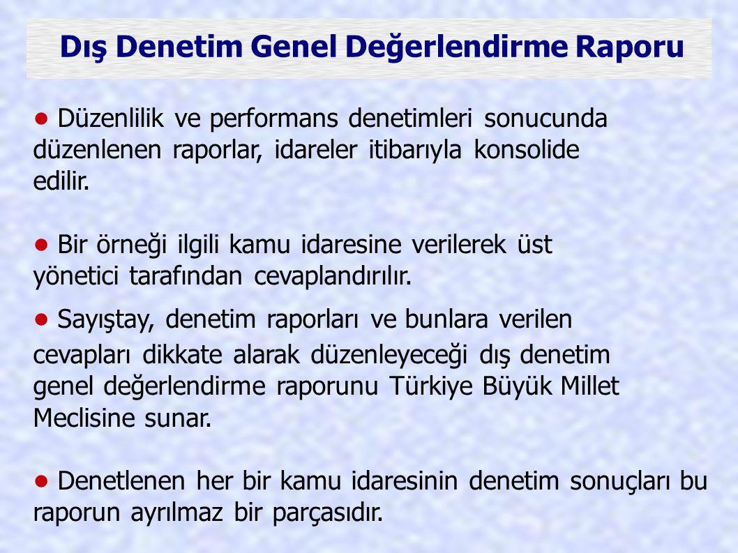 Dış Denetim Genel Değerlendirme Raporu Düzenlilik ve performans denetimleri sonucunda düzenlenen raporlar, idareler itibarıyla konsolide edilir. Bir ö
