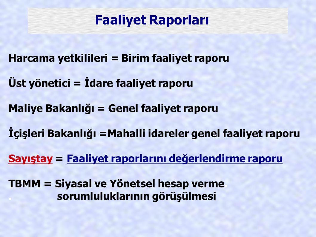 Faaliyet Raporları Harcama yetkilileri = Birim faaliyet raporu Üst yönetici = İdare faaliyet raporu Maliye Bakanlığı = Genel faaliyet raporu İçişleri