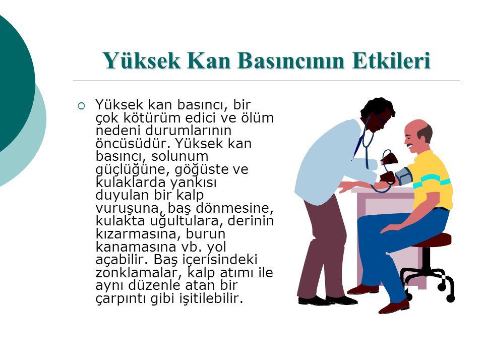 Yüksek Kan Basıncının Etkileri  Yüksek kan basıncı, bir çok kötürüm edici ve ölüm nedeni durumlarının öncüsüdür.