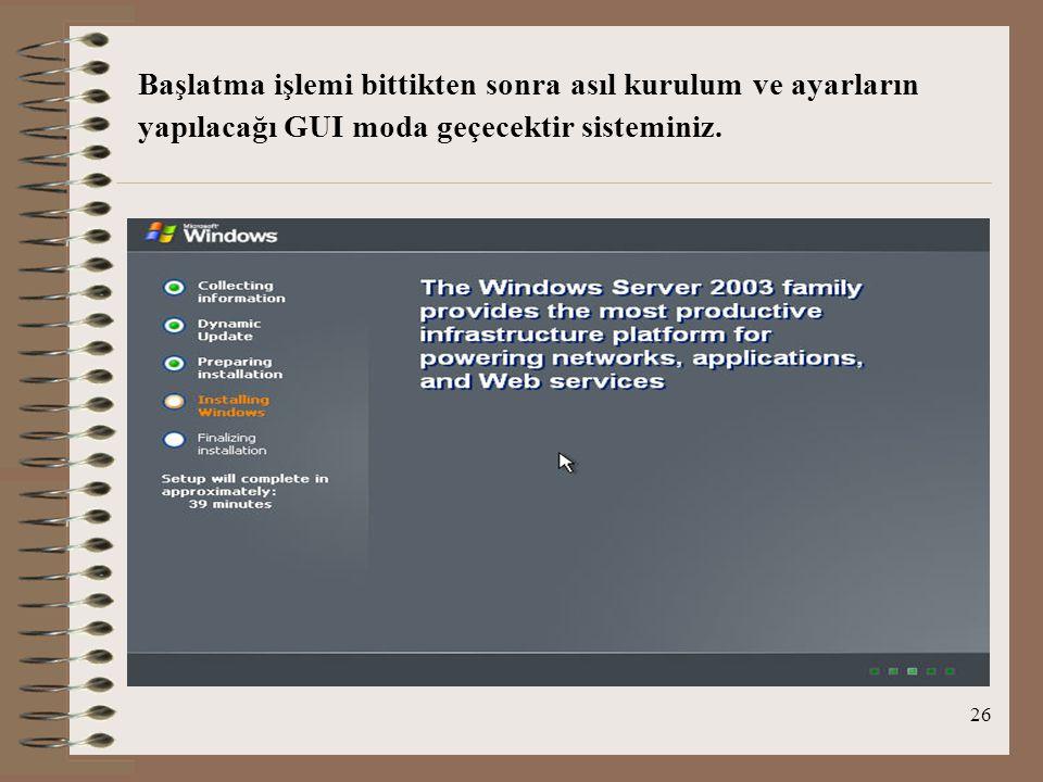26 Başlatma işlemi bittikten sonra asıl kurulum ve ayarların yapılacağı GUI moda geçecektir sisteminiz.