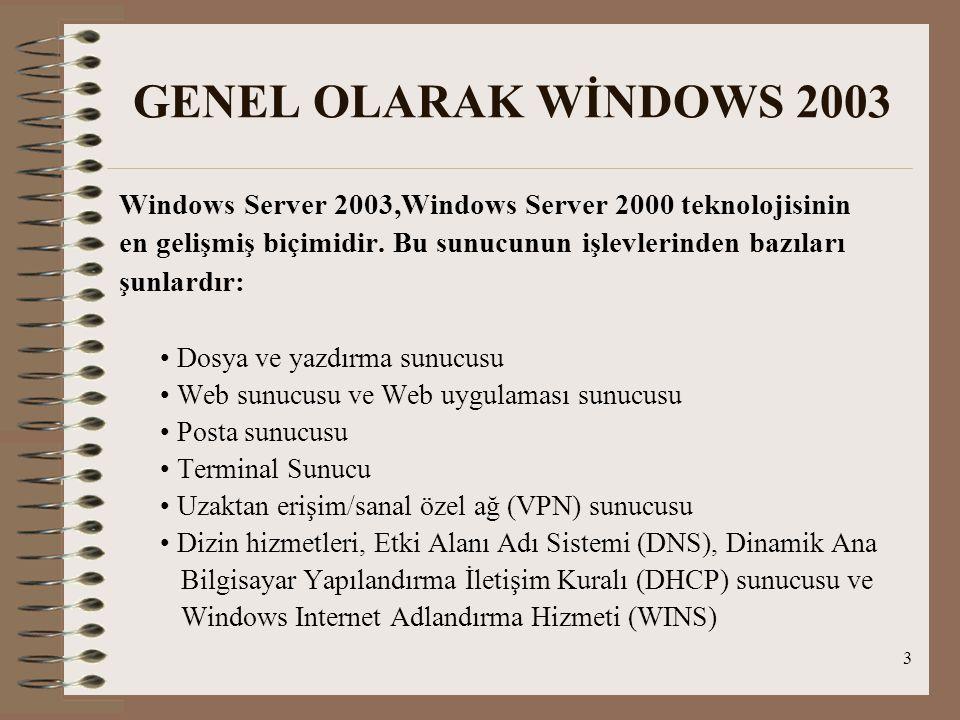 4 Windows 2003 Server Microsoft Windows Server 2003 ün Dört Farklı Versiyonu Bulunmaktadır: Çok işlemcili ve yüksek güvenilirlik gerektiren bilgisayarlar için Datacenter Edition Daha genel uygulamalarda kullanılan çok işlemcili sunucular için Enterprise Edition Alt uçtaki sunucular için Standard Edition Web sayfalarına ev sahipliği yapmak için Web Edition.