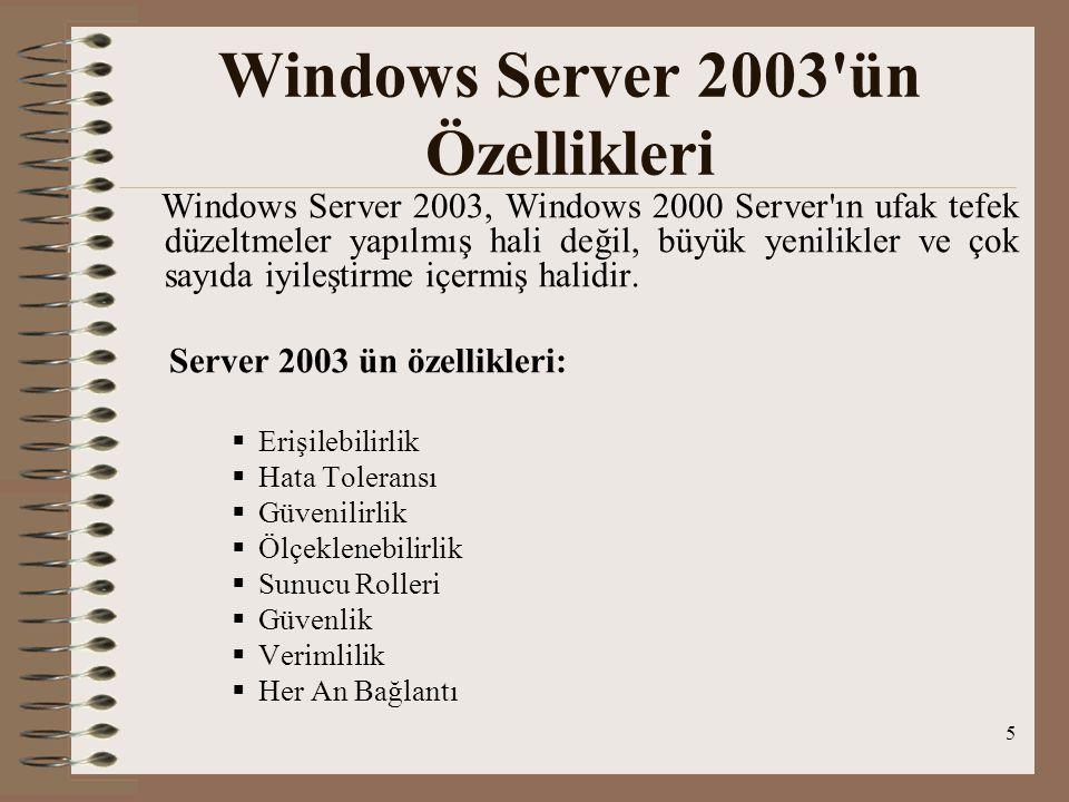6 1.Windows Server 2003 Web Edition –D–Dağıtılması ve yönetilmesi kolaydır.