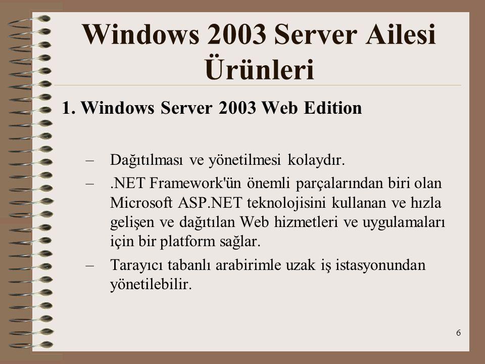 6 1. Windows Server 2003 Web Edition –D–Dağıtılması ve yönetilmesi kolaydır.