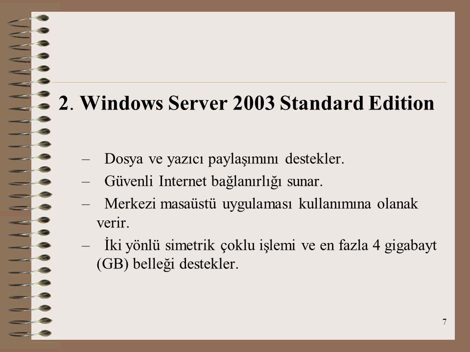 7 2. Windows Server 2003 Standard Edition – Dosya ve yazıcı paylaşımını destekler.