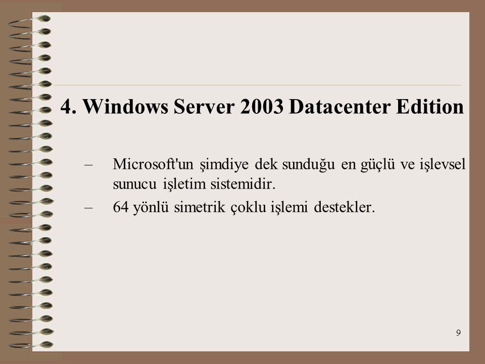 9 4. Windows Server 2003 Datacenter Edition –M–Microsoft'un şimdiye dek sunduğu en güçlü ve işlevsel sunucu işletim sistemidir. –6–64 yönlü simetrik ç