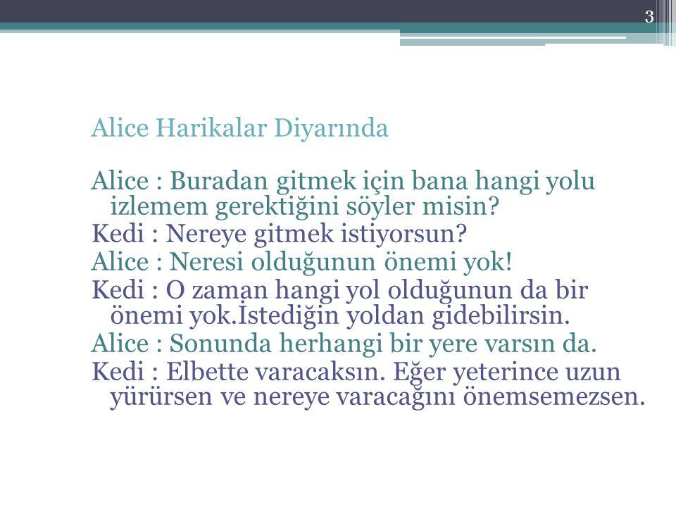 3 Alice Harikalar Diyarında Alice : Buradan gitmek için bana hangi yolu izlemem gerektiğini söyler misin? Kedi : Nereye gitmek istiyorsun? Alice : Ner