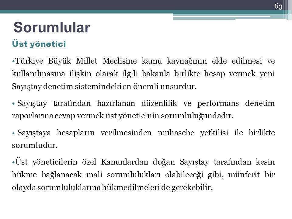 Sorumlular Üst yönetici Türkiye Büyük Millet Meclisine kamu kaynağının elde edilmesi ve kullanılmasına ilişkin olarak ilgili bakanla birlikte hesap ve