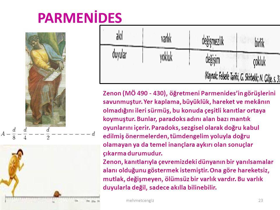 PARMENİDES 29.10.1323mehmetcengiz Zenon (MÖ 490 - 430), öğretmeni Parmenides'in görüşlerini savunmuştur. Yer kaplama, büyüklük, hareket ve mekânın olm