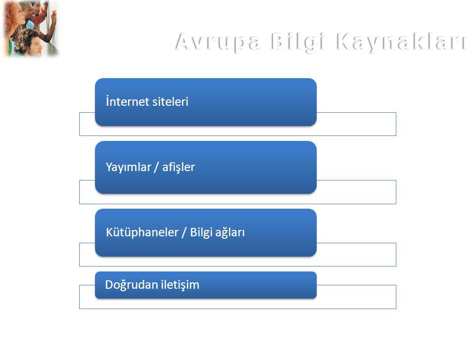Avrupa Bilgi KaynaklarıAvrupa Bilgi Kaynakları İnternet siteleri Yayımlar / afişler Kütüphaneler / Bilgi ağları Doğrudan iletişim