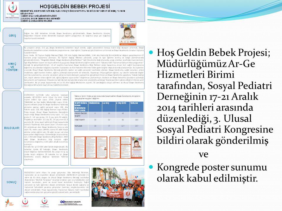 Hoş Geldin Bebek Projesi; Müdürlüğümüz Ar-Ge Hizmetleri Birimi tarafından, Sosyal Pediatri Derneğinin 17-21 Aralık 2014 tarihleri arasında düzenlediği, 3.