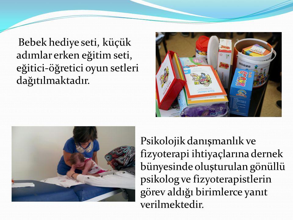Bebek hediye seti, küçük adımlar erken eğitim seti, eğitici-öğretici oyun setleri dağıtılmaktadır.