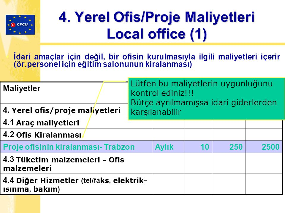 İdari amaçlar için değil, bir ofisin kurulmasıyla ilgili maliyetleri içerir (ör.personel için eğitim salonunun kiralanması) MaliyetlerUnitN of units Unit rate Costs 4.
