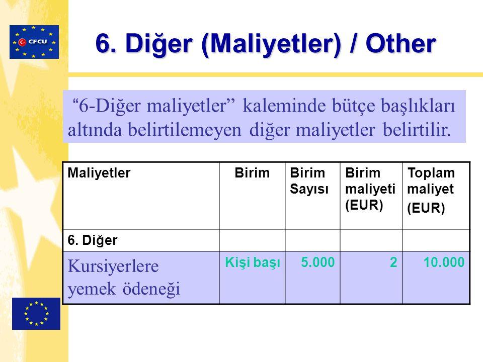 6. Diğer (Maliyetler) / Other MaliyetlerBirimBirim Sayısı Birim maliyeti (EUR) Toplam maliyet (EUR) 6. Diğer Kursiyerlere yemek ödeneği Kişi başı5.000
