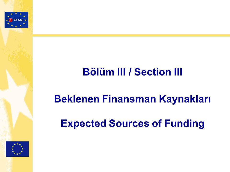 Bölüm III / Section III Beklenen Finansman Kaynakları Expected Sources of Funding