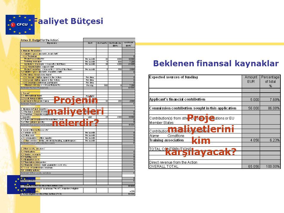 Faaliyet Bütçesi Projenin maliyetleri nelerdir? Beklenen finansal kaynaklar Proje maliyetlerini kim karşılayacak?