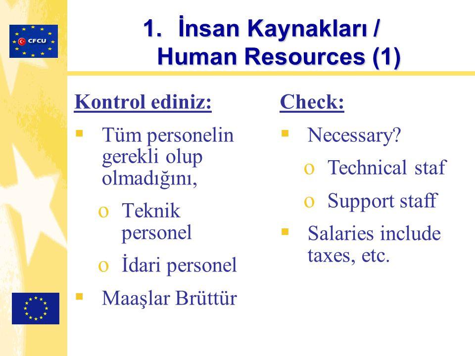 1.İnsan Kaynakları / Human Resources (1) Kontrol ediniz:  Tüm personelin gerekli olup olmadığını, o Teknik personel o İdari personel  Maaşlar Brüttü