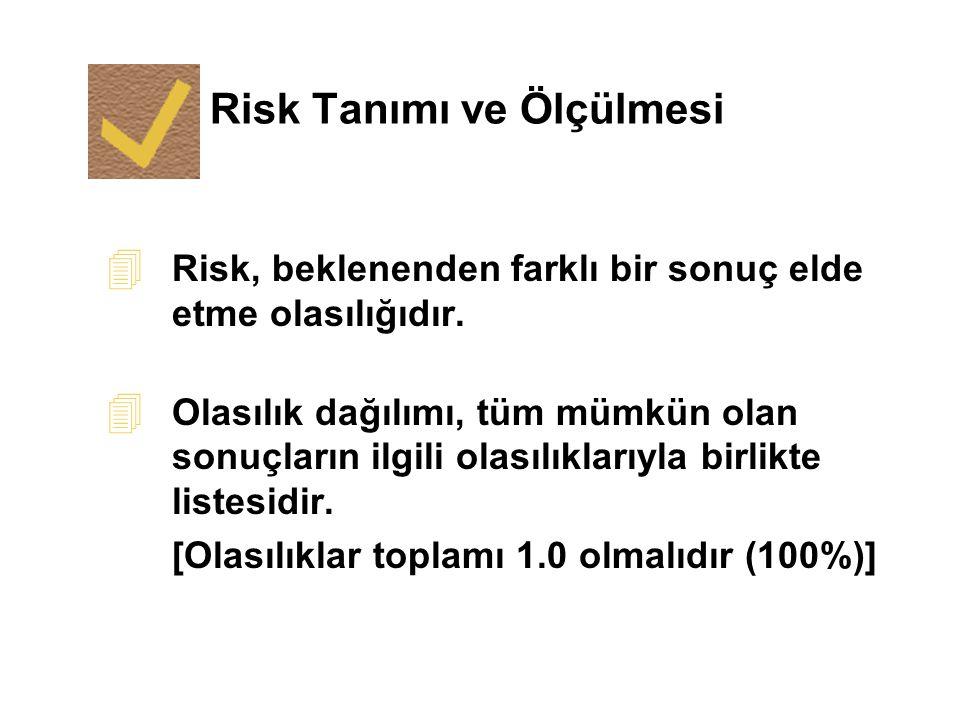 Risk Tanımı ve Ölçülmesi 4 Risk, beklenenden farklı bir sonuç elde etme olasılığıdır. 4 Olasılık dağılımı, tüm mümkün olan sonuçların ilgili olasılıkl