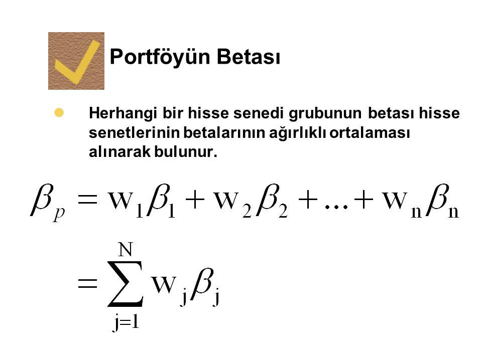 Portföyün Betası lHerhangi bir hisse senedi grubunun betası hisse senetlerinin betalarının ağırlıklı ortalaması alınarak bulunur.