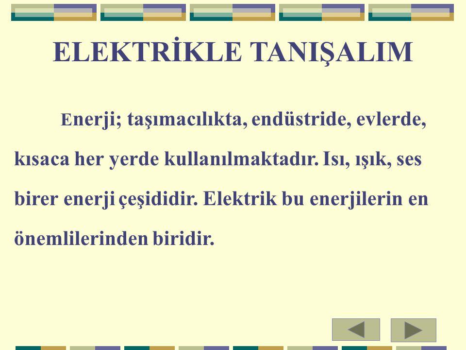 ELEKTRİKLE TANIŞALIM E nerji; taşımacılıkta, endüstride, evlerde, kısaca her yerde kullanılmaktadır. Isı, ışık, ses birer enerji çeşididir. Elektrik b