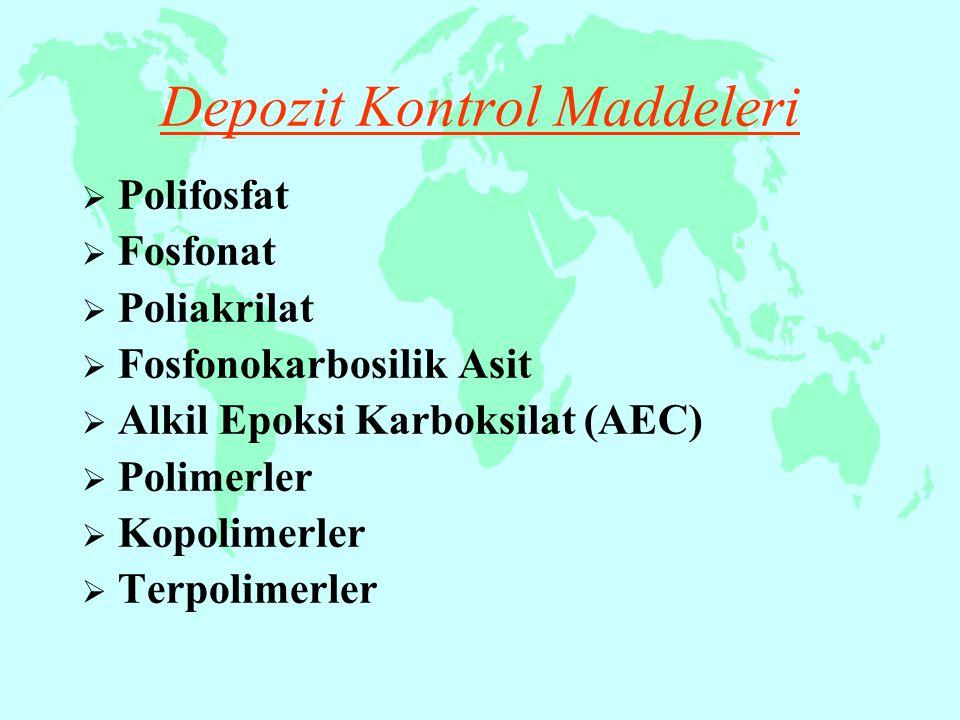 Depozit Kontrol Maddeleri  Polifosfat  Fosfonat  Poliakrilat  Fosfonokarbosilik Asit  Alkil Epoksi Karboksilat (AEC)  Polimerler  Kopolimerler