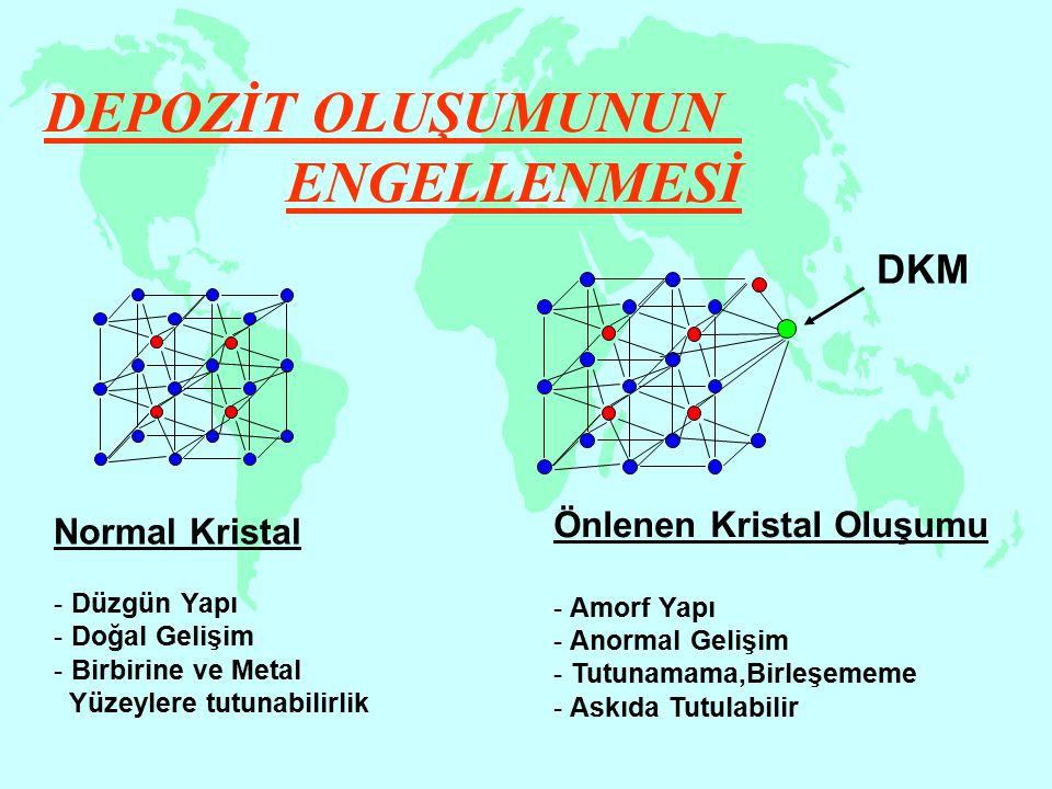 Normal Kristal - Düzgün Yapı - Doğal Gelişim - Birbirine ve Metal Yüzeylere tutunabilirlik DKM DEPOZİT OLUŞUMUNUN ENGELLENMESİ Önlenen Kristal Oluşumu