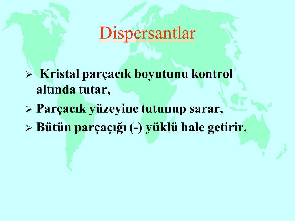 Dispersantlar  Kristal parçacık boyutunu kontrol altında tutar,  Parçacık yüzeyine tutunup sarar,  Bütün parçaçığı (-) yüklü hale getirir.