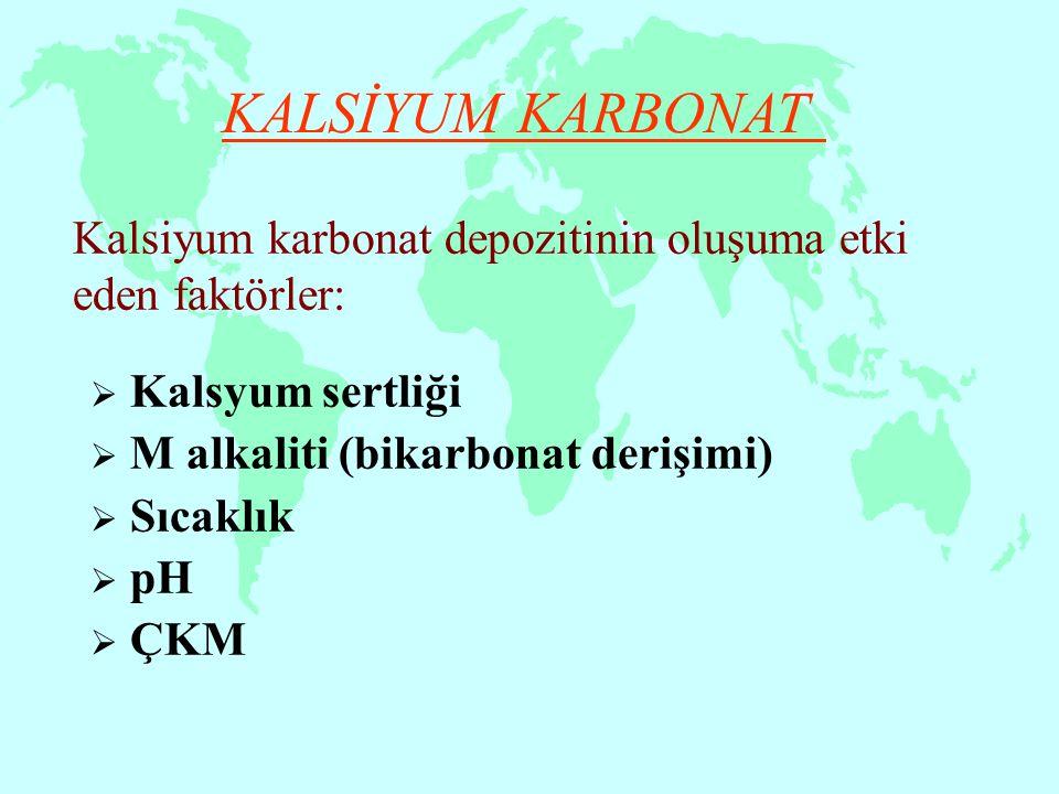 Kalsiyum karbonat depozitinin oluşuma etki eden faktörler:  Kalsyum sertliği  M alkaliti (bikarbonat derişimi)  Sıcaklık  pH  ÇKM KALSİYUM KARBON
