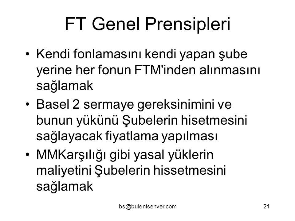 bs@bulentsenver.com21 FT Genel Prensipleri Kendi fonlamasını kendi yapan şube yerine her fonun FTM'inden alınmasını sağlamak Basel 2 sermaye gereksini