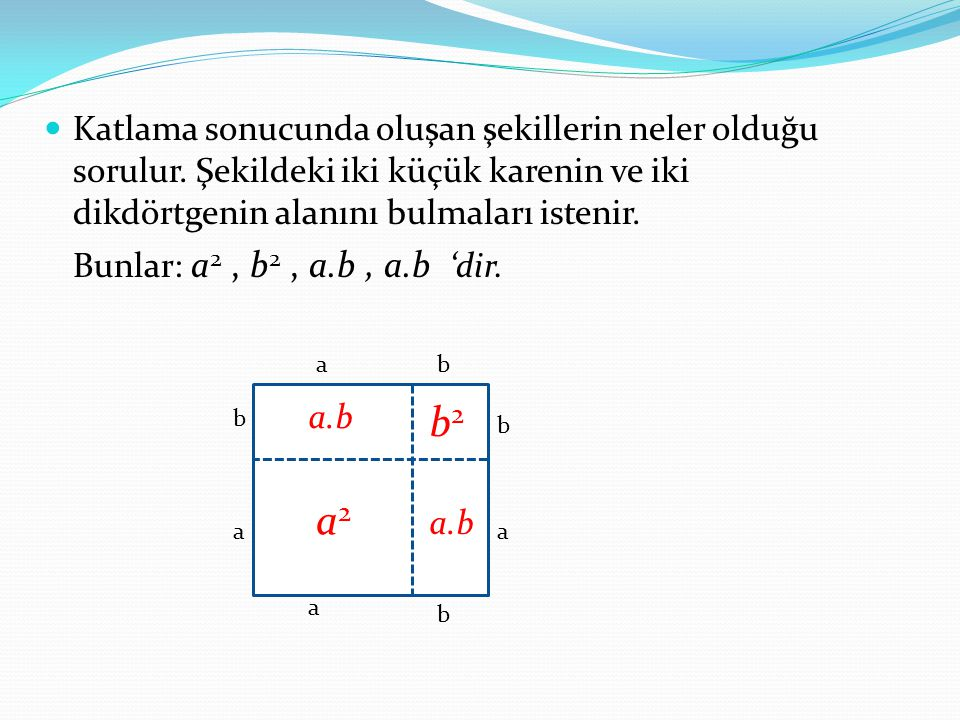 Katlama sonucunda oluşan şekillerin neler olduğu sorulur. Şekildeki iki küçük karenin ve iki dikdörtgenin alanını bulmaları istenir. Bunlar: a 2, b 2,