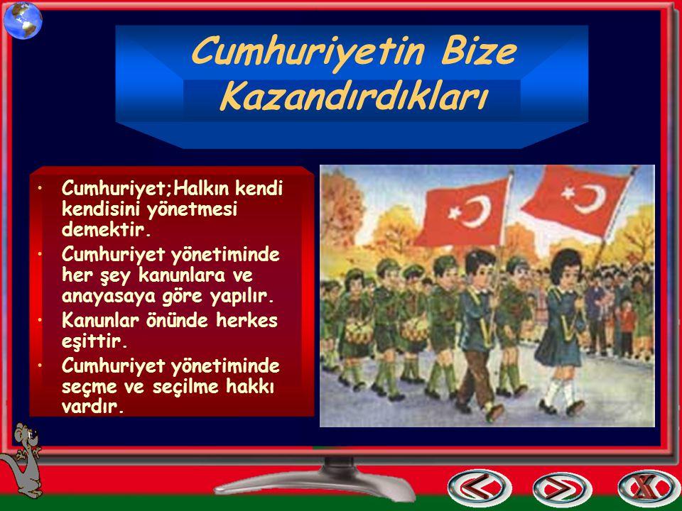 T.B.M.Meclisi 29 ekim 1923'te bir yasa ile cumhuriyet yönetimini kabul etti. Cumhuriyetin ilan edildiği ilk gün T.B.M.Meclisi ATATÜRK'Ü cumhurbaşkanı