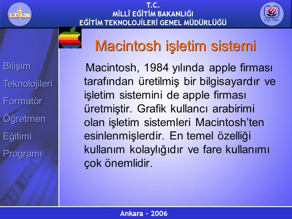 Ankara - 2006 T.C. MİLLÎ EĞİTİM BAKANLIĞI EĞİTİM TEKNOLOJİLERİ GENEL MÜDÜRLÜĞÜ Bilişim Teknolojileri Formatör Öğretmen Eğitimi Programı Bilişim Teknol