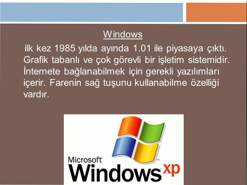 Windows ilk kez 1985 yılda ayında 1.01 ile piyasaya çıktı. Grafik tabanlı ve çok görevli bir işletim sistemidir. İnternete bağlanabilmek için gerekli