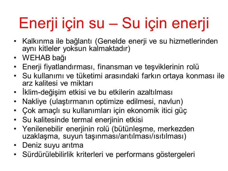 Enerji için su – Su için enerji Kalkınma ile bağlantı (Genelde enerji ve su hizmetlerinden aynı kitleler yoksun kalmaktadır) WEHAB bağı Enerji fiyatla