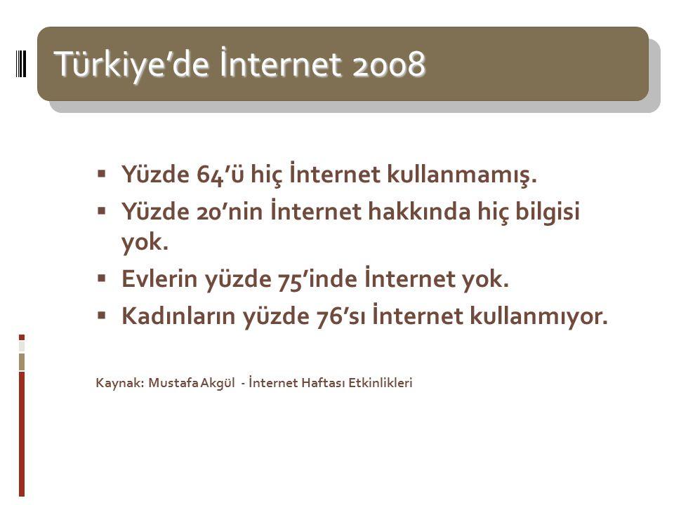 Türkiye'de İnternet 2008 Türkiye'de İnternet 2008  Yüzde 64'ü hiç İnternet kullanmamış.  Yüzde 20'nin İnternet hakkında hiç bilgisi yok.  Evlerin y