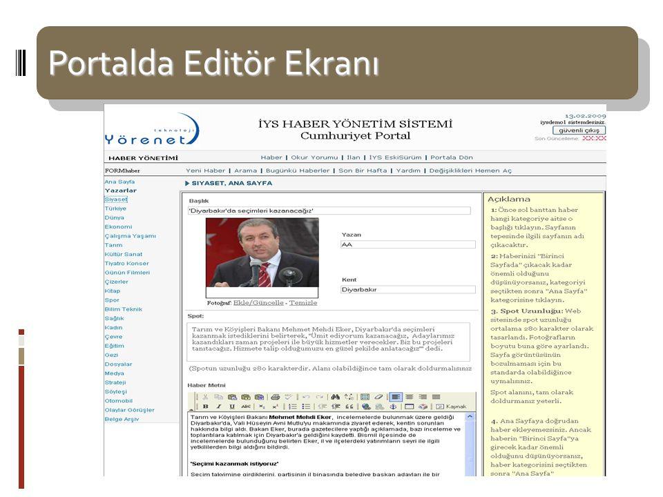 Portalda Editör Ekranı Portalda Editör Ekranı