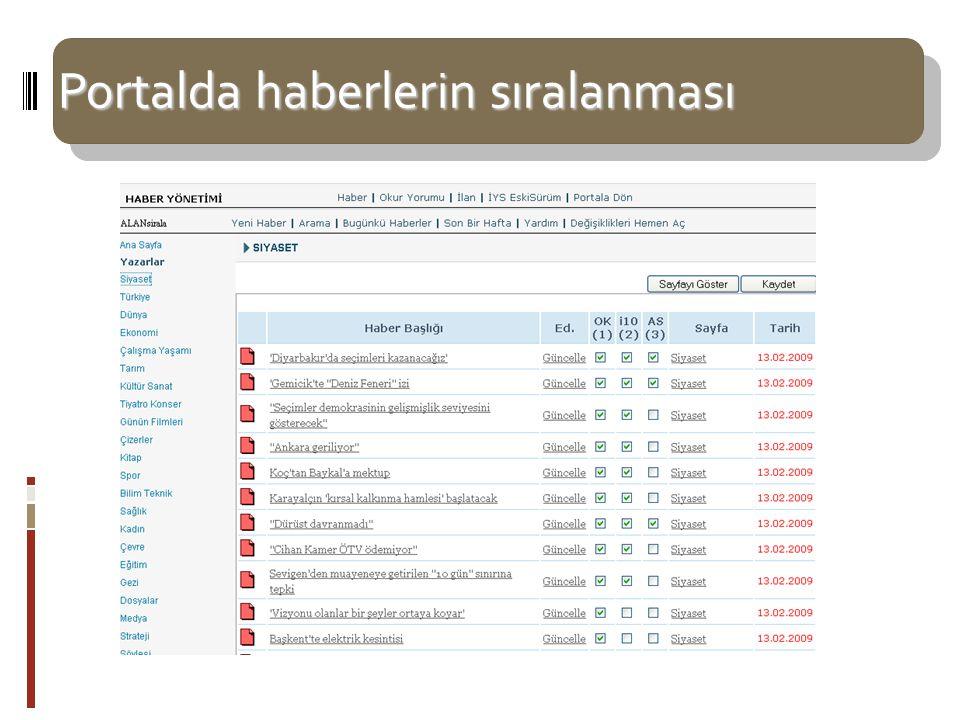 Portalda haberlerin sıralanması