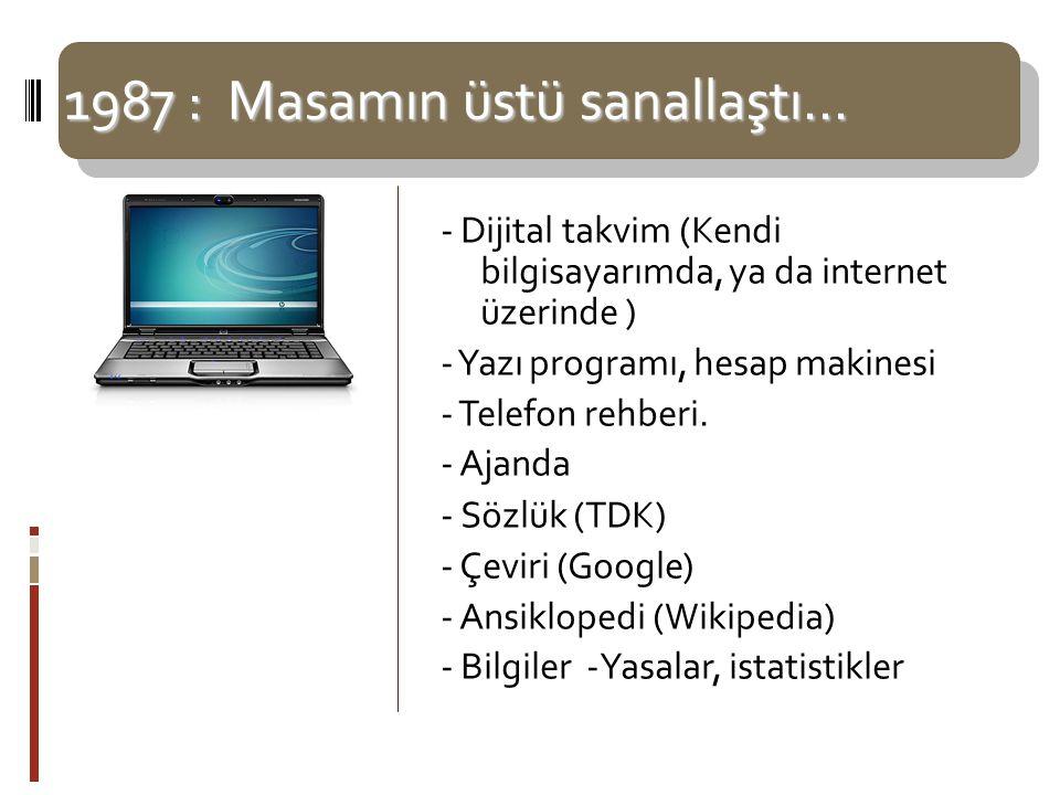 1987 : Masamın üstü sanallaştı… - Dijital takvim (Kendi bilgisayarımda, ya da internet üzerinde )  - Yazı programı, hesap makinesi - Telefon rehberi.