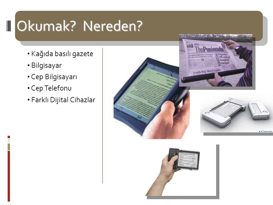 Okumak? Nereden? Kağıda basılı gazete Bilgisayar Cep Bilgisayarı Cep Telefonu Farklı Dijital Cihazlar